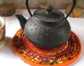 Bohemian Coiled Orange Table Mat, Hot Pad or Trivet - Small Round, Handmade by Me