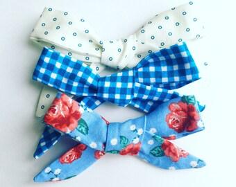 Gone CAMPING. 3 school girl bows (nylon elastic/alligator clip)