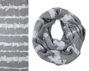 Birch Stripe Infinity Scarf - Hand Printed Sweatshirt Fleece Circle Scarf in Heather Grey and White