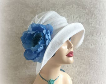 Linen Cloche Hat - Large Blue Flower - Big Brim Hats - Cloche Hats - Downton Abbey Cloche - Big Brim Cloche - Wedding Hats - Detby Hats