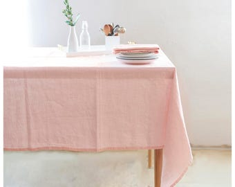 Linen tablecloth. Light pink BOHEMIAN tablecloth. Free shipping to US retail orders