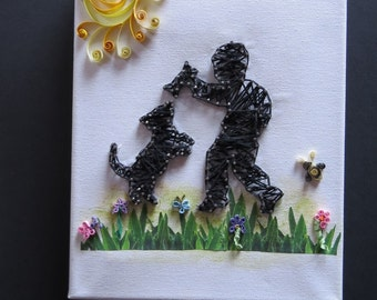 Little Boy and Dog String Art and  Quilling on Canvas