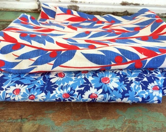 Vintage Lot 2 partial Feedsack fabric Blue and red Floral Abstract Leaves