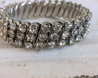 Vintage Bracelet Expansion Stretch Clear Rhinestone Silver 3 rows