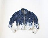 90s Bleached Acid Wash Jean Jacket / 1990s Dip Dyed Ombre Denim Jacket / Cyber Punk Soft Grunge Jacket / Small / Medium