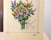 "Flower Bouquet ""Wild Iris""  Watercolor Original Card  ""Big Card"" 5x7 With Matching Envelope  betrueoriginals"