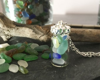 Mini Bottle filled with Genuine Irish Sea glass - Mermaid's Tears