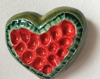 Red and Green Heart Pod Wall Art