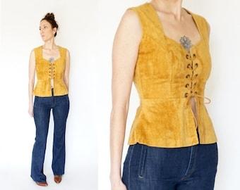SALE vintage 70s bohemian VELVETEEN lace up CORSET sleeveless top M