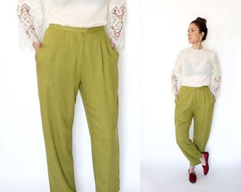 SPRING SALE 90s chartreuse HIGH Waist pleated trousers M