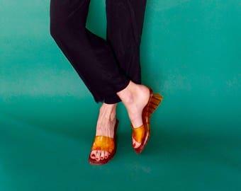 vintage 90s orange PLASTIC wedge mule sandals 8 us, 38 eur