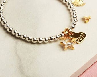 Graduation gift for her, class of 2017, personalised star heart stretch stacking bracelet silver rose gold yellow gold