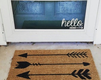 Hello. with arrow Vinyl Decal - Welcome Door Decal - Door Decal