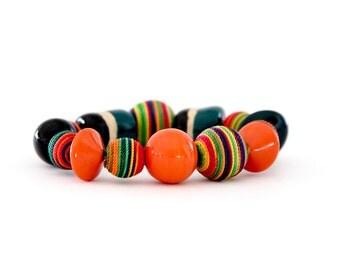 Beaded Bracelet, Ceramic Jewelry,  -  big bracelet, ceramic bangle, handmade bracelet by StudioLeanne, statement jewelry