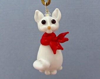 White Christmas Cat Ornament - Lampwork Glass Bead SRA