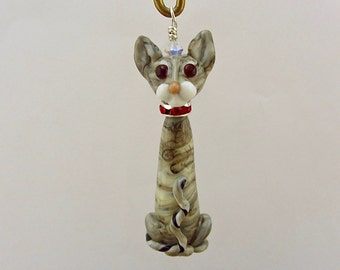 Gray Tabby Cat - Handcrafted Lampwork Glass Creation SRA