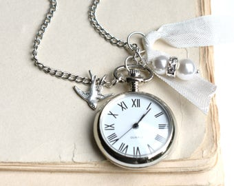 Watch Pendant, Silver Watch Necklace, Pocket Watch, Downton Abby, Victorian Necklace, Mother's Day Gift, Gift for Her, Bridal Watch, Clock