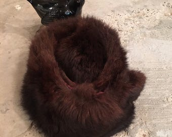 Vintage Fur Collar - Chocolate Brown - Fluffy Soft Warm - Dramatic Accessory - Eclectic Elegant Quirky Fun - Upcycled Recycled Coat Collar