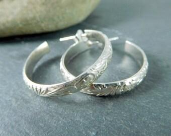 Flower & Leaf Sterling Silver Hoop Earrings, 1 Inch Post Hoop Earrings, Simple Everyday Jewelry, Nature Inspired Earrings Minimalist Jewelry