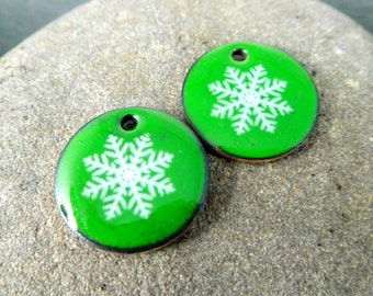 Green White Snowflake Enamel Earring Charm Pair, Christmas Holiday Enameled Copper Beads, Winter Snow Ice, Hanukkah, Jewelry Components