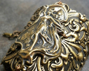 Viking Jewelry Valkyrie Norse Goddess Wide Cuff Bracelet