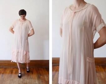 As Is 1920s Sheer Pink Silk Dress - M