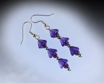 Flower dangle earrings, mauve bell flowers with silver plated hook earwires.