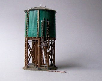 Vintage Model Train Accessory / Vintage Miniature Green Water Tower / H0 Scale