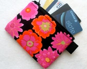 Button Flowers Kaffe Fasset Fabric Zippered Credit Card Case Womens Card Holder Coin Purse Business Card Case Black Pink Orange Floral