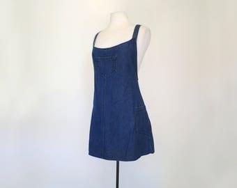 DENIM JUMPER // 90s criss cross strap overall dress