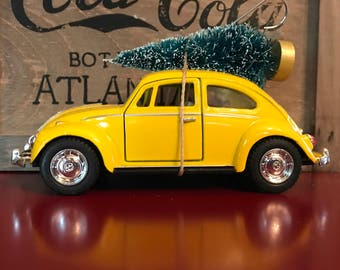VW Bug Carrying Christmas Tree Ornament