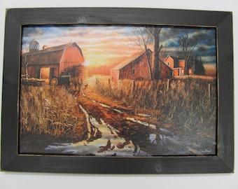 Jim Hansel,Farm,Barn,Fall,Framed Artwork,Handmade Distressed Frame,201/2x141/2