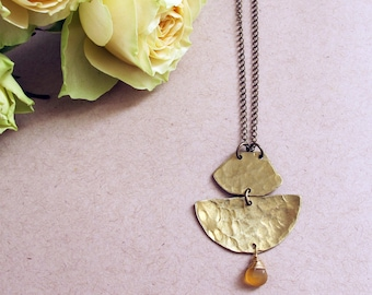 Vista Necklace - Brass and Chalcedony Necklace - Empowering Jewelry - Caramel, Brown, Butterscotch Brass Necklace