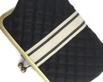 Black Clutch, Sporty Bag, Bridesmaid Purse, Gold Frame Purse, Faux Leather Clutch, Accessories, Silver Kiss lock, Stripes, Quilted Purse