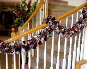 7 foot Americana Garland,Fabric Garland,Country Garland,Party Decoration,Rag Garland,4th of July Decoration,Americana Fabric Garland