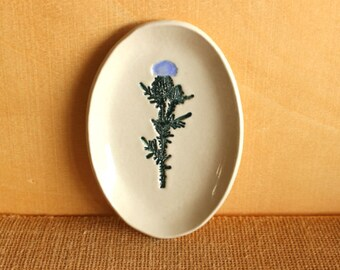 Ceramic THISTLE Soap Dish - Handmade Oval Porcelain Purple THISTLE Flower Plant Soap Dish - Jewelry Dish - Ready To Ship
