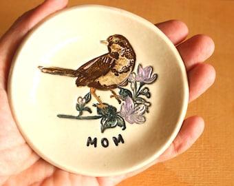 Ceramic BIRD Ring Dish - Handmade Porcelain Bird on Flowering Branch Ring Dish - Gift for Mom - Ready To Ship