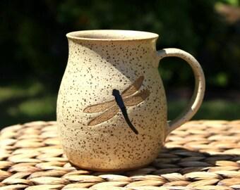 Ceramic DRAGONFLY Coffee Mug - Handmade Speckled Cream Stoneware Dragonfly Mug - Ready To Ship