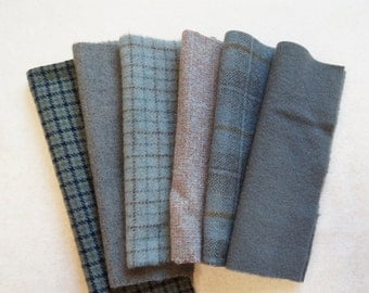 "Grey Hand Dyed Felted Wool Fabric, Six 7-8"" x 5-6"" pieces, Perfect for Rug Hooking, Applique and Crafts"