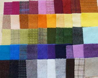 SALE Hand Dyed Felted Wool Scraps Bundle Number 1276 By Quilting Acres