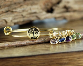 Gold Family Tree Bangle  Bracelet, Family Tree Jewelry, Birthstone Bracelet, Stainless Steel Bangle,Tree of Life Bracelet, GIft for Grandma