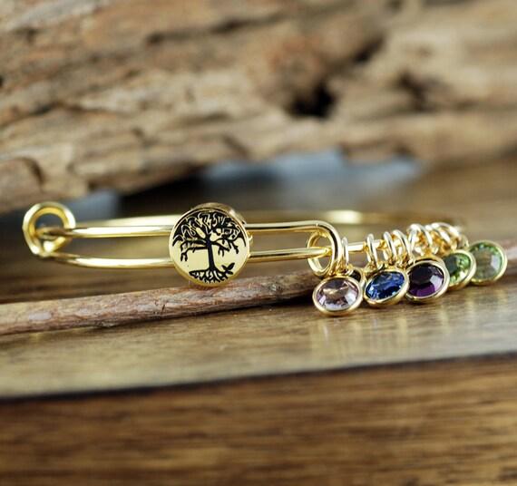 Gold Family Tree Bangle  Bracelet, Family Tree Jewelry, Birthstone Bracelet, Stainless Steel Bangle,Tree of Life Bracelet, GIft for Grandma