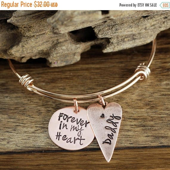 15% OFF SALE Forever in My Heart Bangle Bracelet, Personalized Memorial Bracelet, Loss of Loved One, Hand Stamped Memorial, Remembrance Jewe