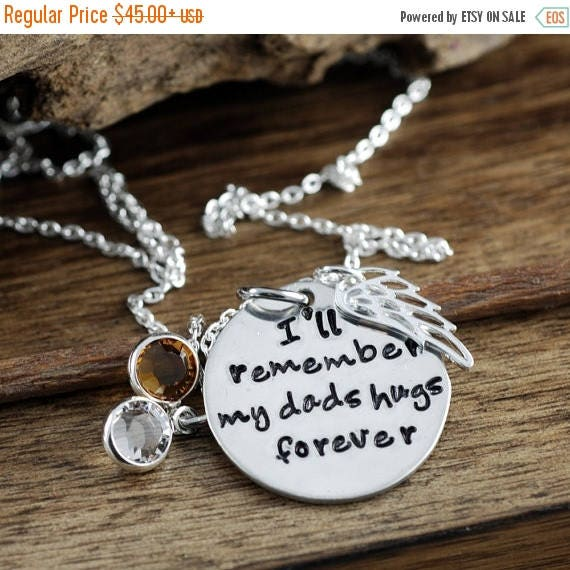 15% OFF SALE I'll remember my dad's hugs forever, Remembrance Necklace, Bereavement Jewelry, In Memory Of Dad, Memorial Necklace, Silver Ang