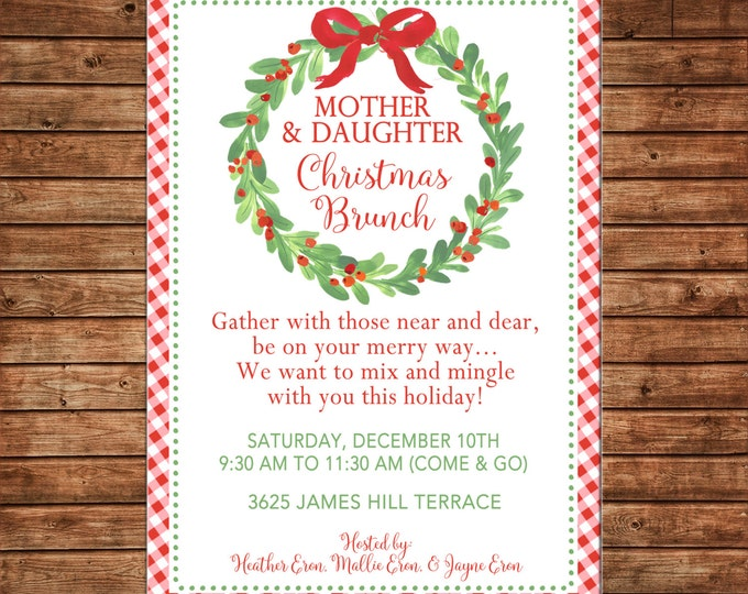 Christmas Holiday Christmas Brunch Mother Daughter Watercolor Wreath Greenery Bow Berries Gingham Check - Digital File