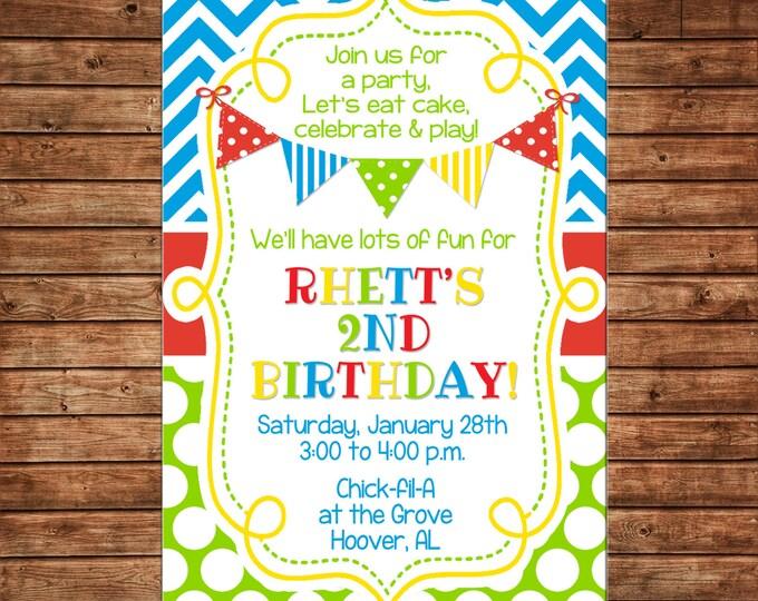 Boy Generic Birthday Multi Color Stripe Polka Dot Chevron Bunting Banner No Theme Invitation - DIGITAL FILE