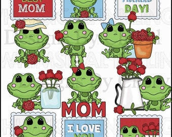 Friendly Frogs Hoppy Mothers Day Clipart Collection - Immediate Download