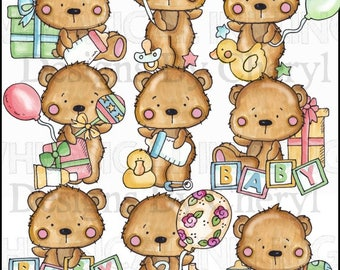 Little Baby Bear Clipart Collection - Immediate Download