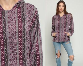 Aztec Shirt HOODIE 80s Hooded Sweatshirt Tribal Pullover 1980s Vintage Long Sleeve Boho Hippie Grunge Vintage Hood Purple Cotton Medium
