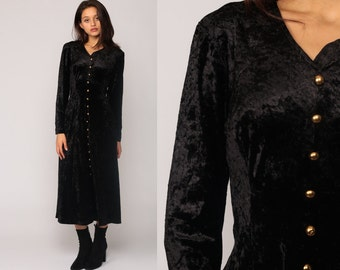 Black Velvet Dress Gothic 90s Midi Party Crushed Velvet CORSET 80s Goth Boho Button Vintage Witch Long Sleeve Bohemian Sheath V Neck Medium